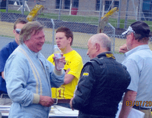 Celebrating finishing a Formula 2 race at Brands Hatch with my friend Lincoln Small